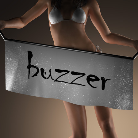 buzzer: buzzer word on banner and bikiny woman Stock Photo