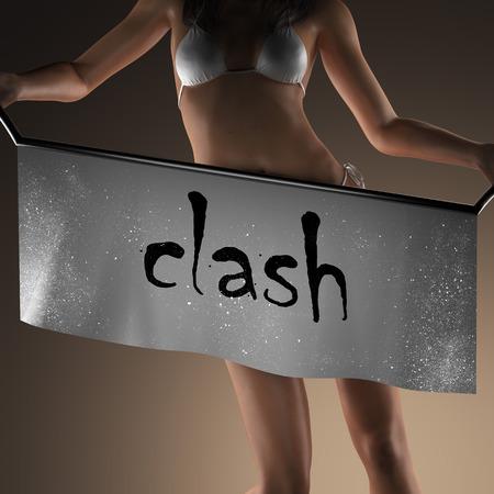 clash: clash word on banner and bikiny woman
