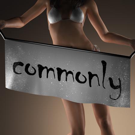 powszechnie: commonly word on banner and bikiny woman Zdjęcie Seryjne