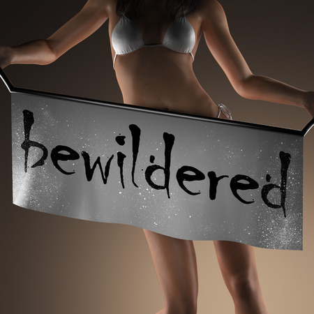 bewildered: bewildered word on banner and bikiny woman