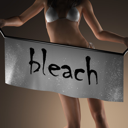 bleach: bleach word on banner and bikiny woman