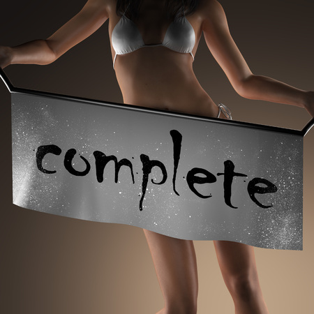 complete: complete word on banner and bikiny woman