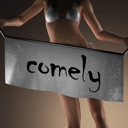 comely: comely word on banner and bikiny woman