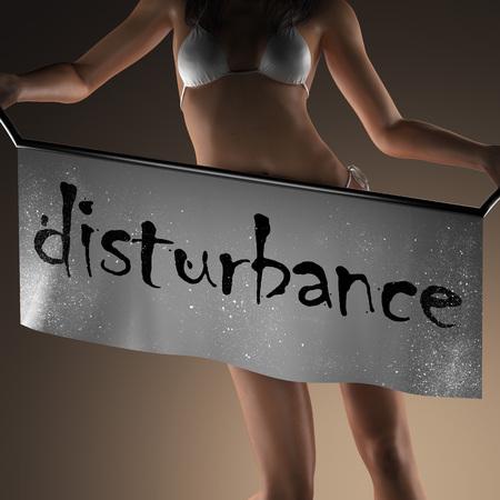 disturbance: disturbance word on banner and bikiny woman