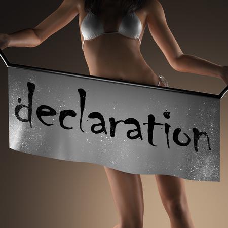 declaration: declaration word on banner and bikiny woman
