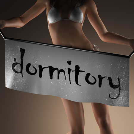 dormitory: dormitory word on banner and bikiny woman
