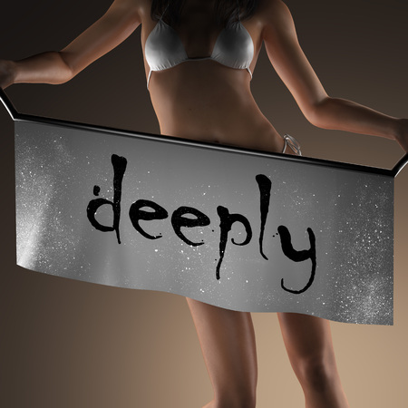deeply: deeply word on banner and bikiny woman
