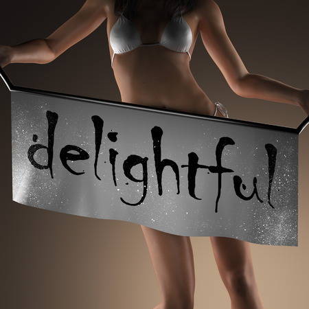 delightful: delightful word on banner and bikiny woman