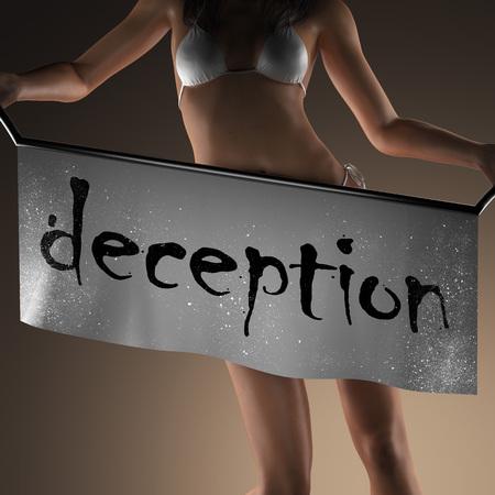 deception: deception word on banner and bikiny woman