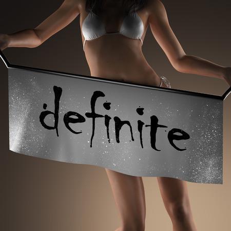 definite: definite word on banner and bikiny woman