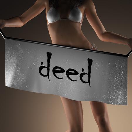 deed: deed word on banner and bikiny woman