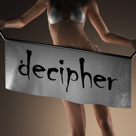 decipher: decipher word on banner and bikiny woman