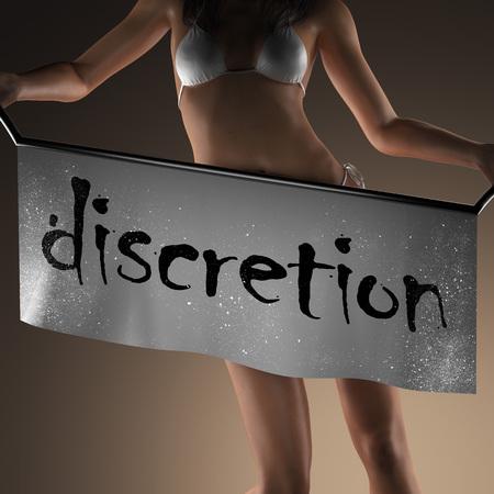 discretion: discretion word on banner and bikiny woman Stock Photo