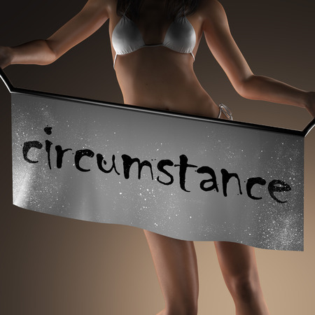 circunstancia: circumstance word on banner and bikiny woman