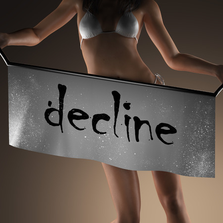 the decline: decline word on banner and bikiny woman Stock Photo