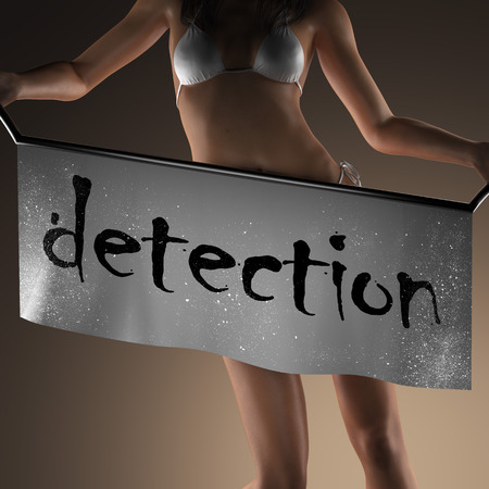 detection: detection word on banner and bikiny woman Stock Photo