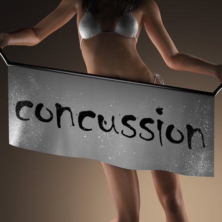concussion: concussion word on banner and bikiny woman Stock Photo
