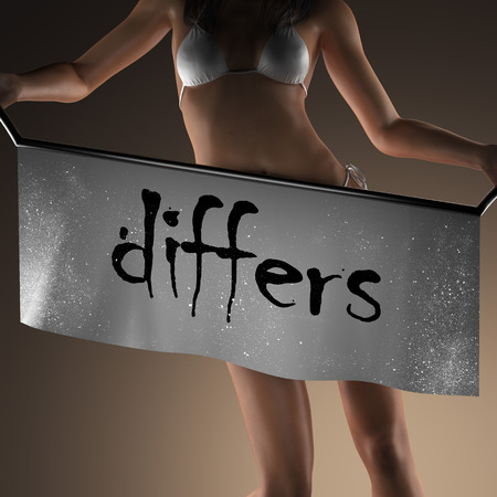 differs: differs word on banner and bikiny woman