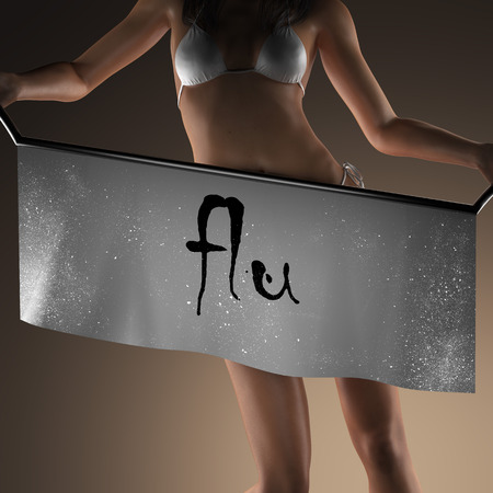 curvaceous: flu word on banner and bikiny woman