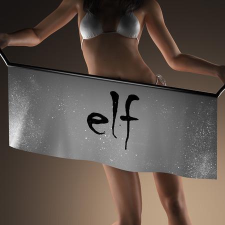 sexy elf: elf word on banner and bikiny woman Stock Photo