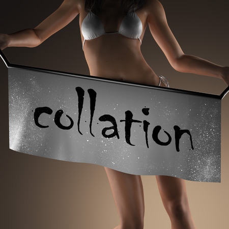 collation: collation word on banner and bikiny woman Stock Photo