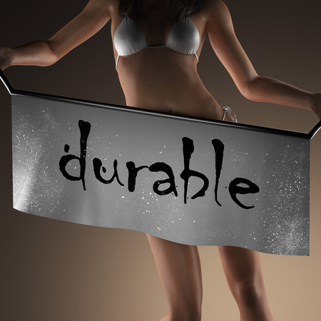 durable: durable word on banner and bikiny woman