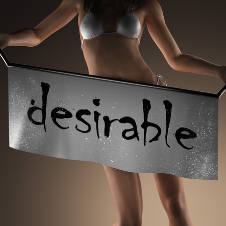 desirable: desirable word on banner and bikiny woman