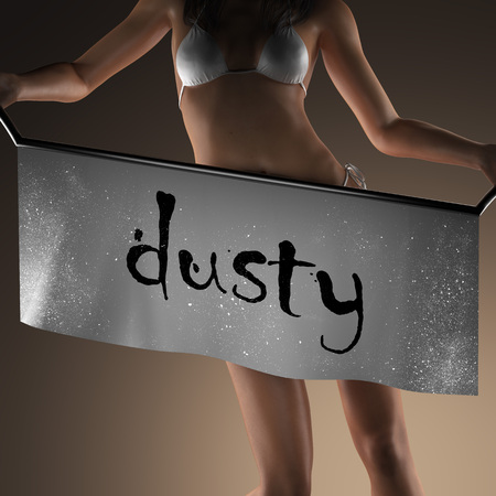 curvaceous: dusty word on banner and bikiny woman