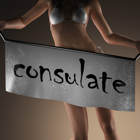 consulate: consulate word on banner and bikiny woman Stock Photo