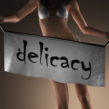 manjar: palabra delicadeza en banner y mujer bikiny Foto de archivo