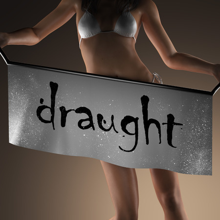 draught: draught word on banner and bikiny woman Stock Photo