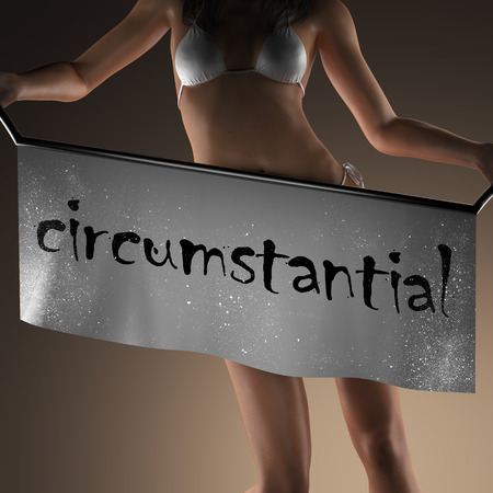 circumstantial: circumstantial word on banner and bikiny woman