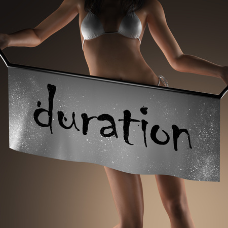 Duration: duration word on banner and bikiny woman Stock Photo