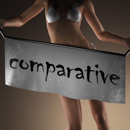 comparative: comparative word on banner and bikiny woman