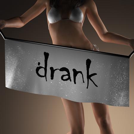 drank: drank word on banner and bikiny woman