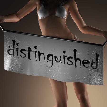 distinguished: distinguished word on banner and bikiny woman