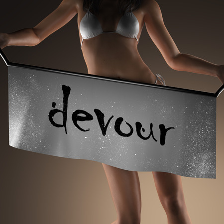 devour: devour word on banner and bikiny woman Stock Photo