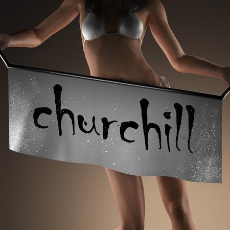 churchill: churchill word on banner and bikiny woman