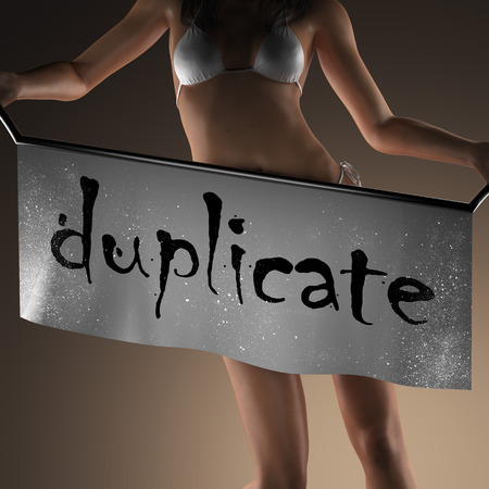 duplicate: duplicate word on banner and bikiny woman Stock Photo