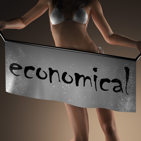 economical: economical word on banner and bikiny woman