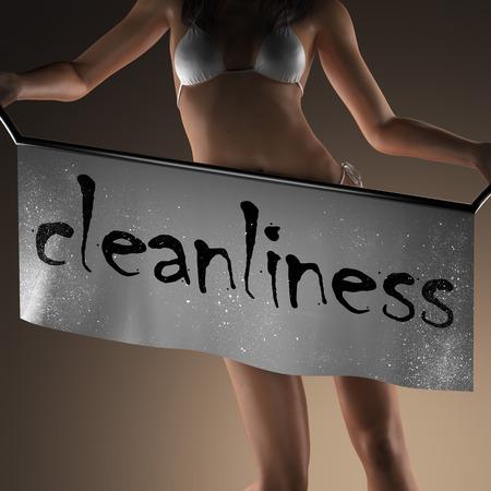 aseo: palabra limpieza en banner y mujer bikiny