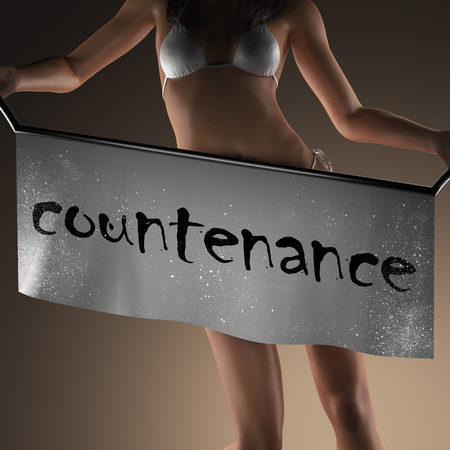 countenance: countenance word on banner and bikiny woman