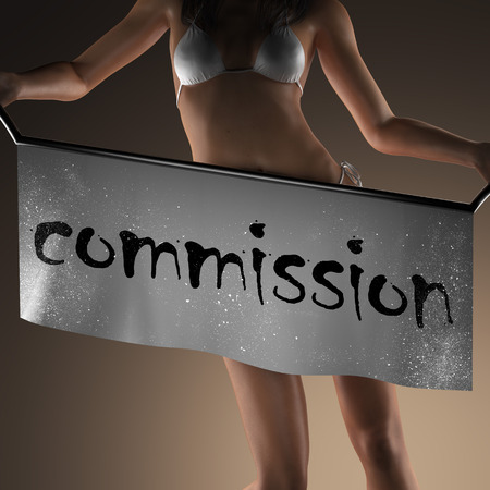 commission: commission word on banner and bikiny woman