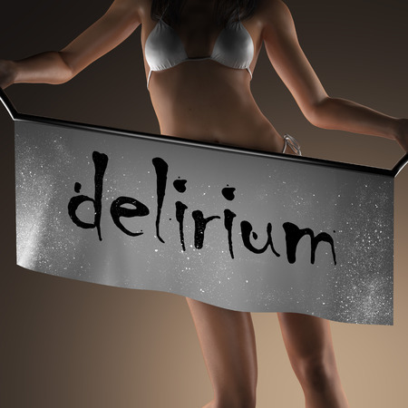 delirium: delirium word on banner and bikiny woman Stock Photo