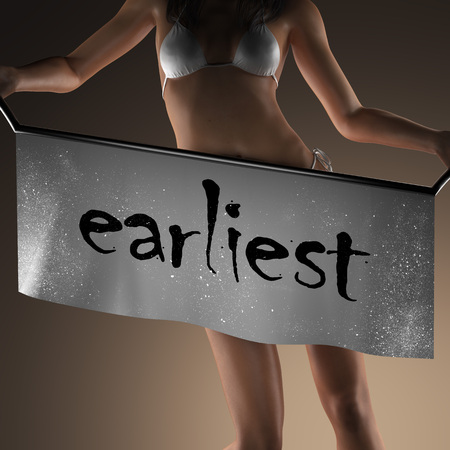 earliest: earliest word on banner and bikiny woman