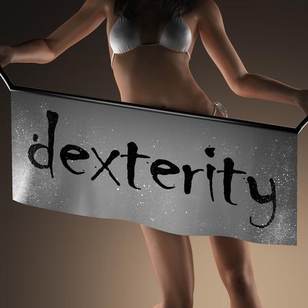 dexterity: dexterity word on banner and bikiny woman