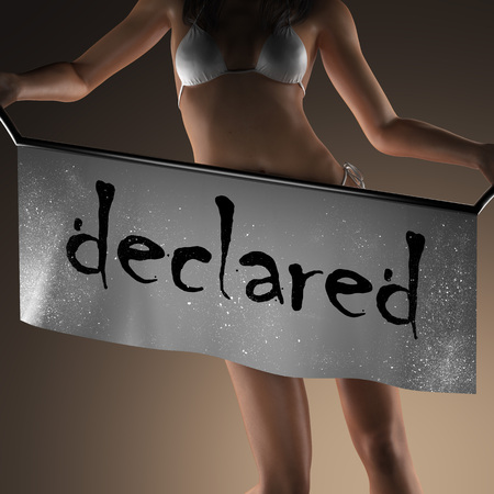 declared: declared word on banner and bikiny woman
