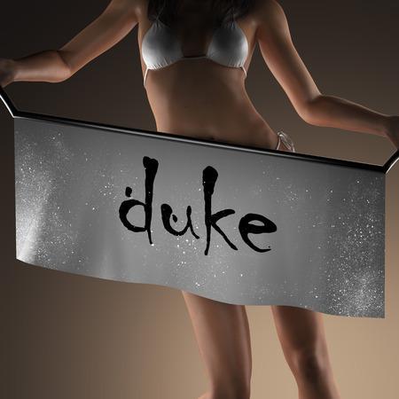 duke: duke word on banner and bikiny woman Stock Photo
