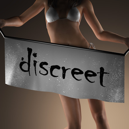 discreto: discreet word on banner and bikiny woman