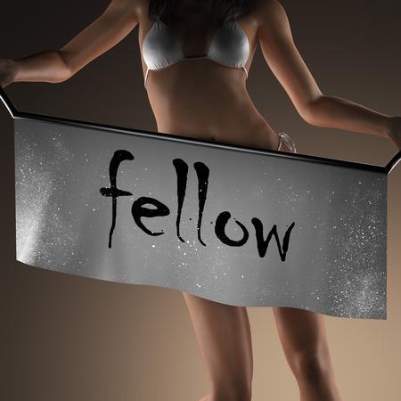 fellow: fellow word on banner and bikiny woman Stock Photo